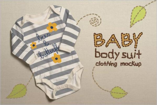 Baby Bodysuit Clothing Mockup Design