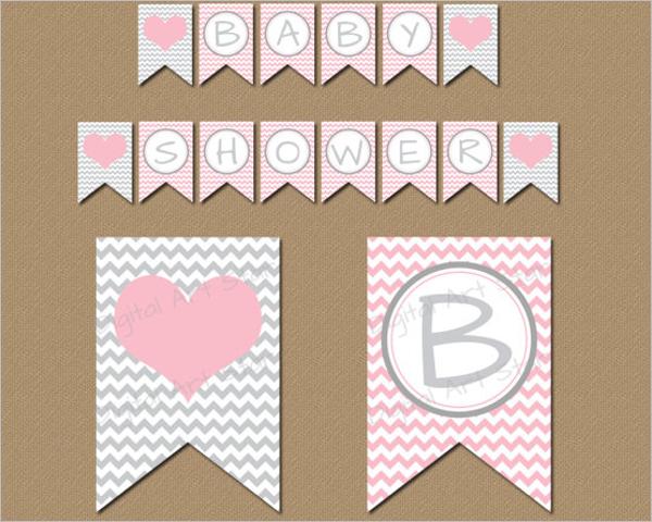 Baby Girl Shower Banner Design