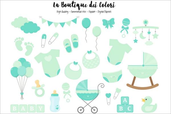 Baby Shower Banner Element Design