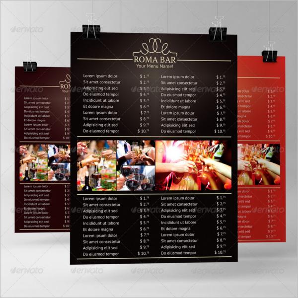 Bar Menu Card With Price List Design