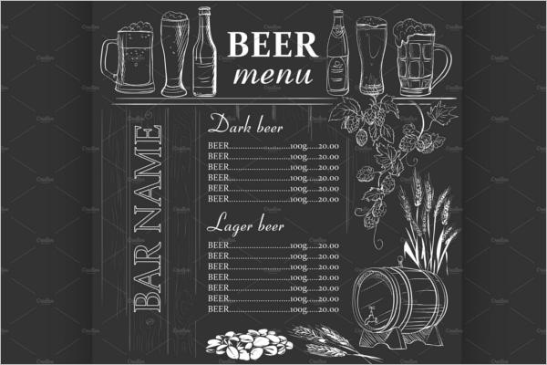 Bar Menu Chalkboard Template