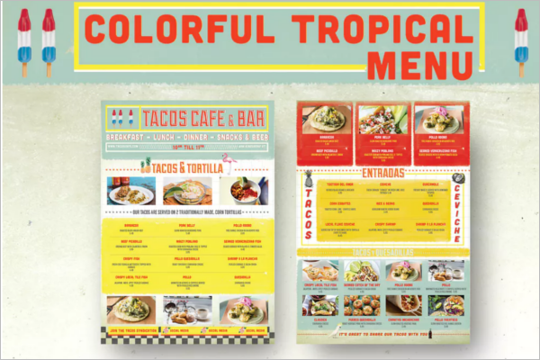 Bar Tropical Menu Design