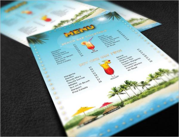 Beach Bar Menu Design