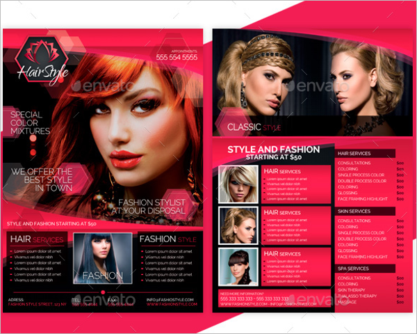 beauty salon price list flyer design