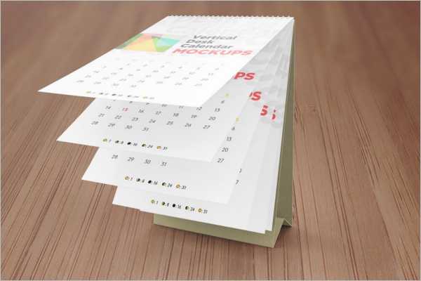 Vertical Desk Calendar Mockup Template