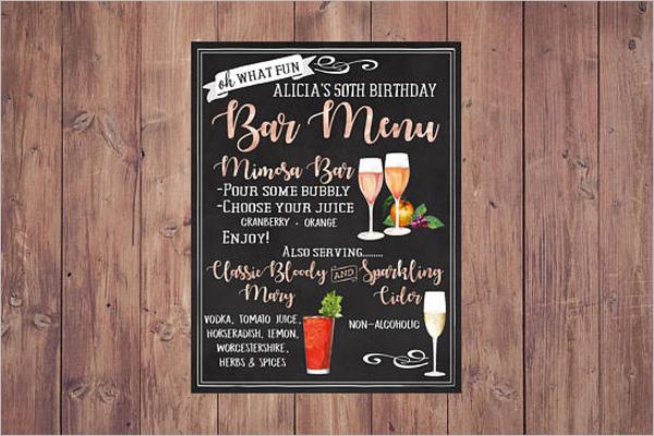 Birthday Cocktail Menu Card Template