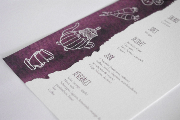 Birthday Menu Card Design Example
