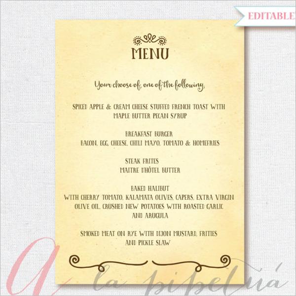 Birthday Menu Card PDF Design