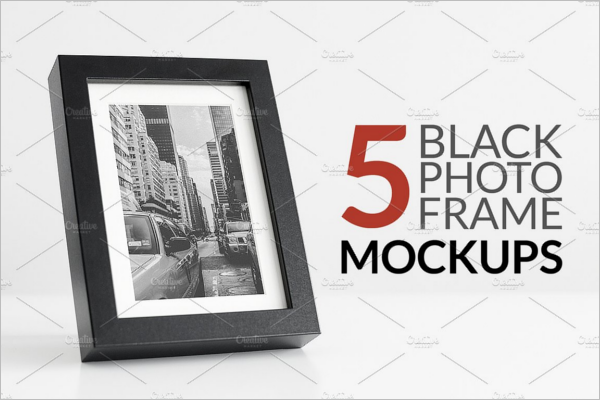 Black Photo Display Mockup Template