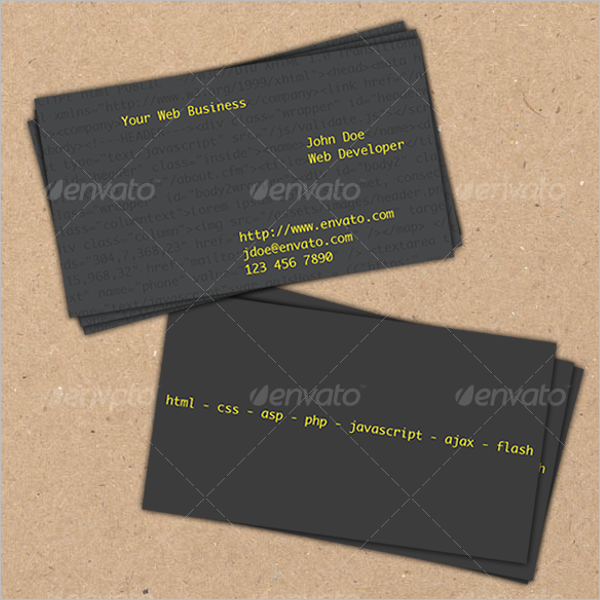 Black Web Devoloper Business Card Design