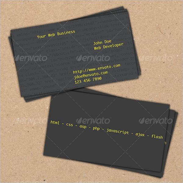 Black Web Devoloper Business Card Design