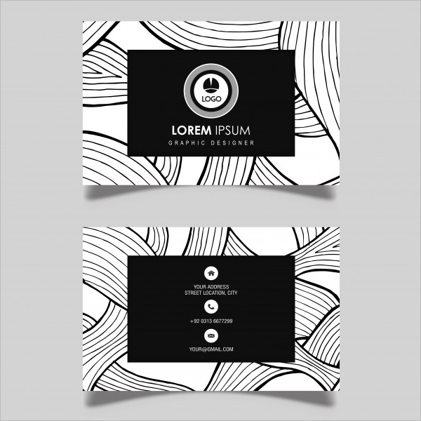 Black & White Business Card Free Vector