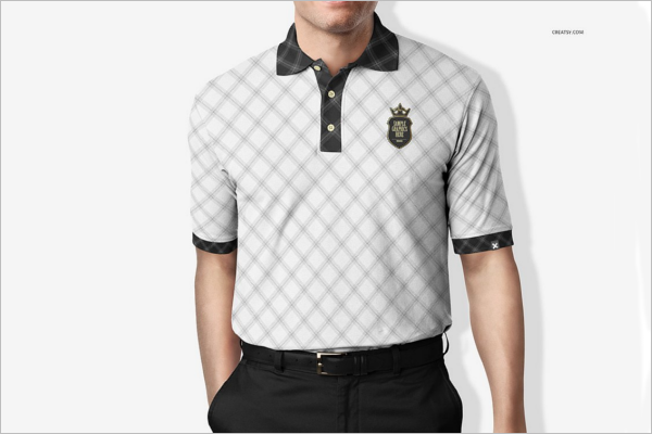Black & White Polo t-Shirt Mockup