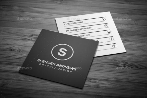 Black & White Square Business Card Template