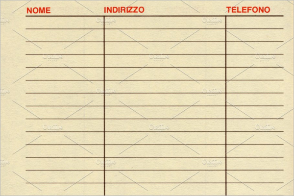 Blank Address Book Template