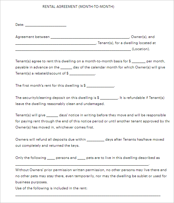 Blank Agreement Form Template