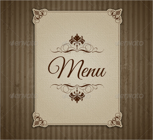 Blank Menu Card Template