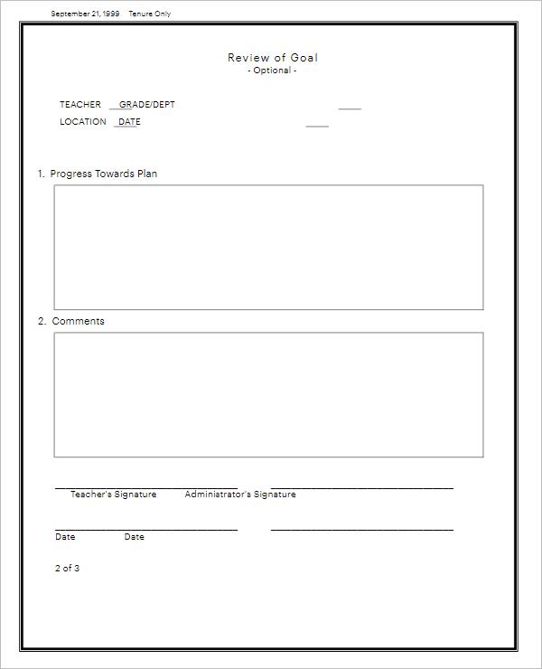 Blank Teacher Evaluation Form