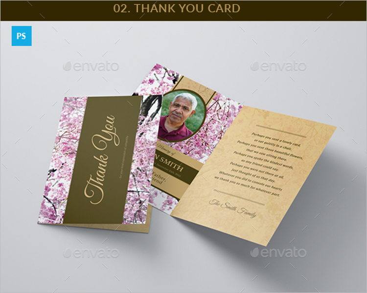 Blossom Funeral Program Thank You Card Design