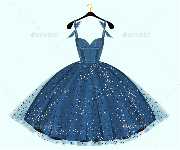 Blue Dress Design Template