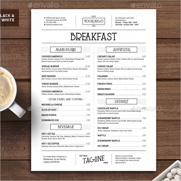 Breakfast Menu Vintage Template