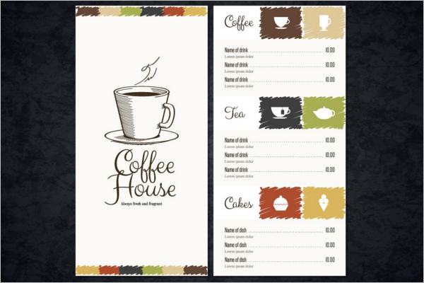 Cafe Menu Card Template