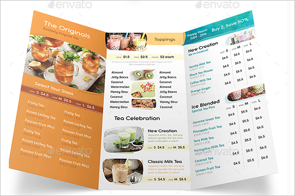 cafe tri fold menu template