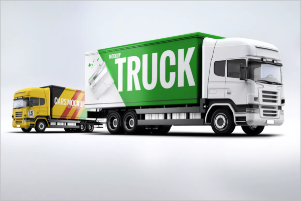 Cargo Truck Mockup Template