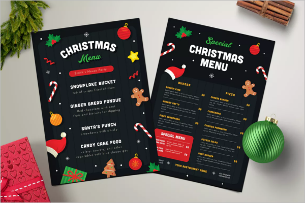 Chirstmas A4 Menu Template