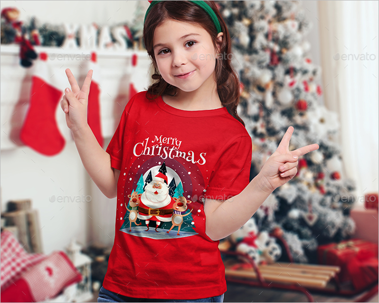 Christmas Kids T-Shirt Mockup  Design