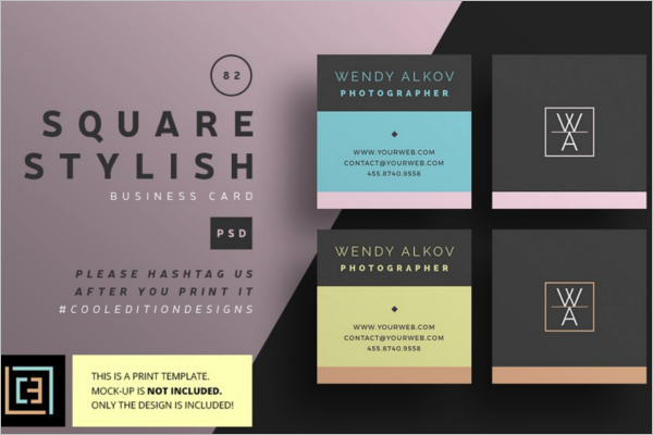Square Business Card Templates Free PSD Word Designs - Square business card template