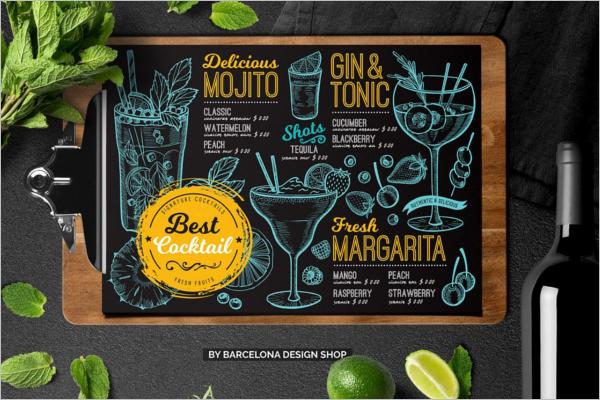 Cocktail Bar Menu Design