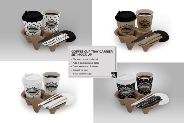 Coffee Set Carrier Packaging Mockup