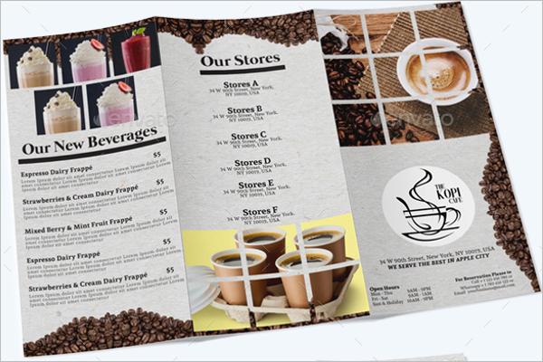 Coffee Shop Tri-Fold Menu Template