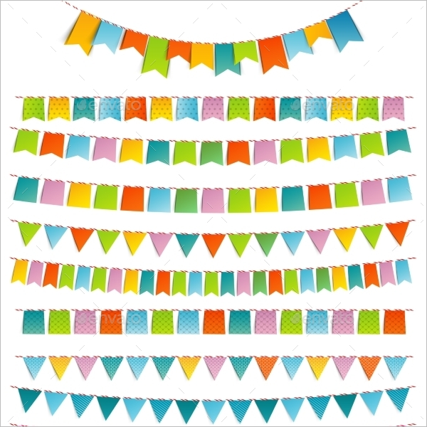 Coloring Pennant Banner Template