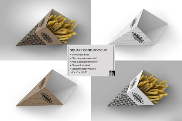 cone shaped food packaging mockup