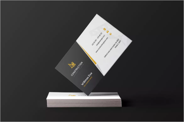 Construction Black & White Business Card Template