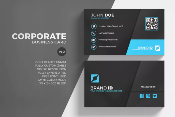 Corporate Business Card Printable Design