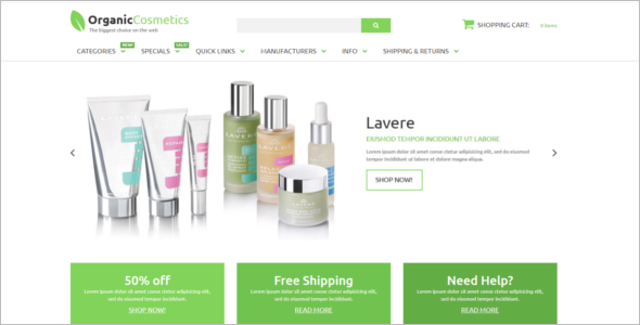 Cosmetics Store Zen Cart Theme