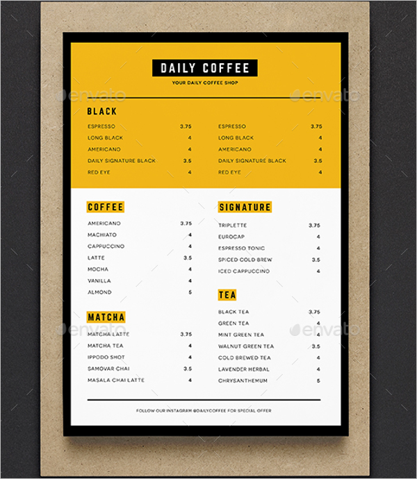 DailyCafe Menu Design