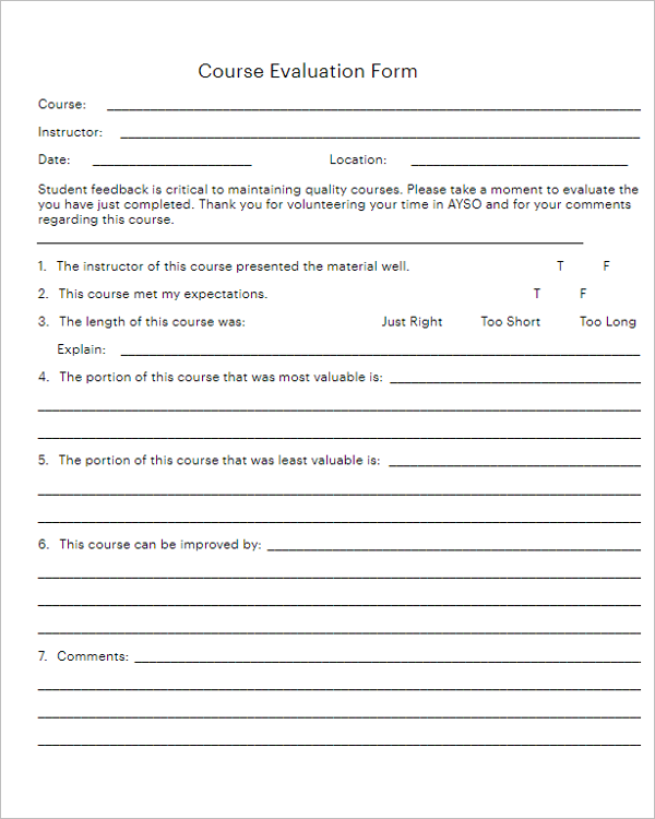 Daycare Teacher Evaluation Form
