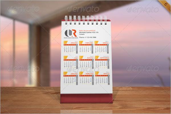 Desk Calendar Mockup Landscape Design