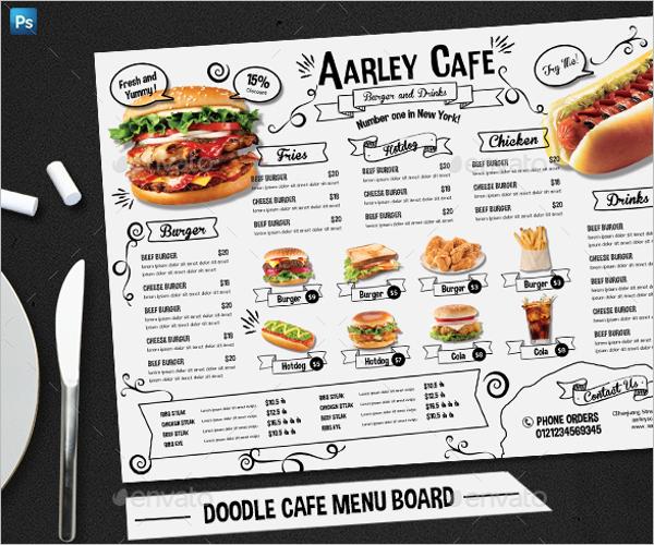 Doodle Cafe Menu Board Design
