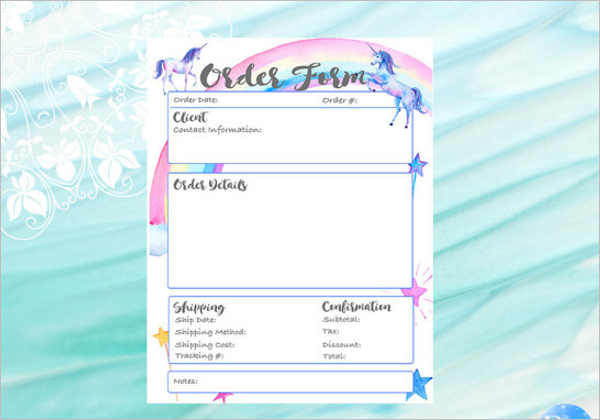 Editable Retail Product  Order Form Template