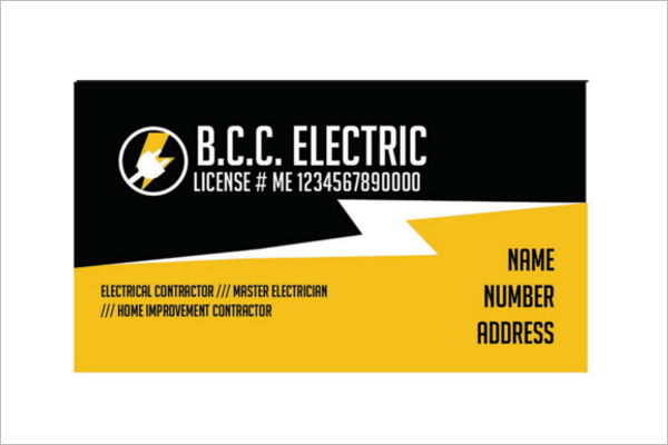 Electrician Business Card Design Examples