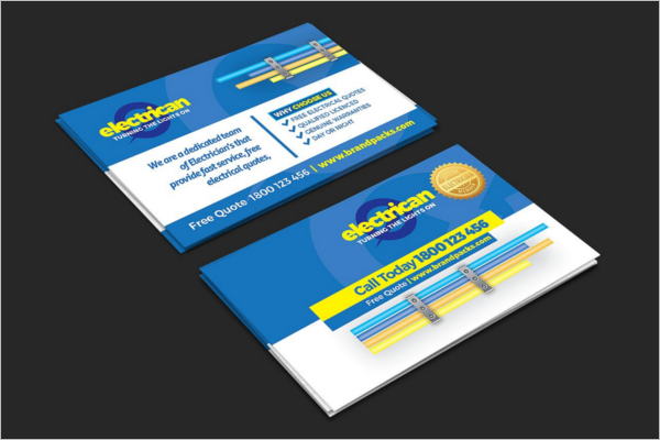 Electrician Business Cards Template PSD