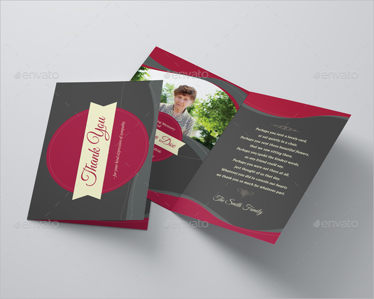 Elegant Funeral Program Thank You Card Template