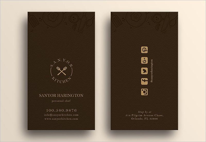 Elegant Restaurant Business Card Template