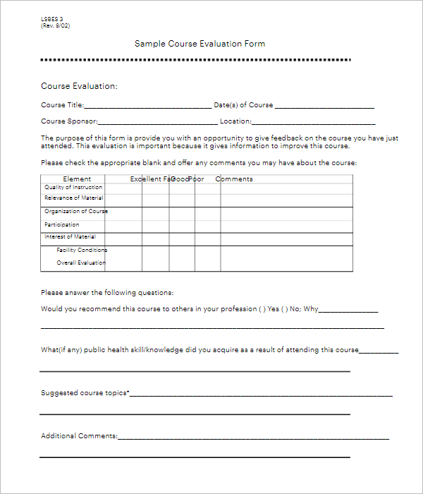 Example Of Teacher Evaluation Form