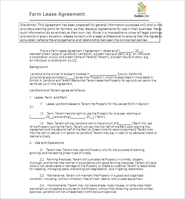 Farm Lease Agreement Template